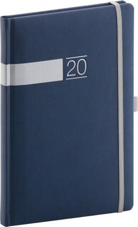 Týdenní diář Twill 2020, modrostříbrný 15 × 21 cm