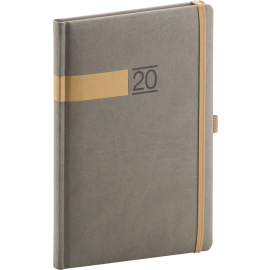 Weekly diary Twill gray-gold 2020, 15 × 21 cm