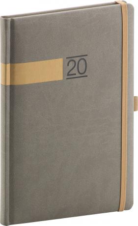 Týdenní diář Twill 2020, šedozlatý 15 × 21 cm