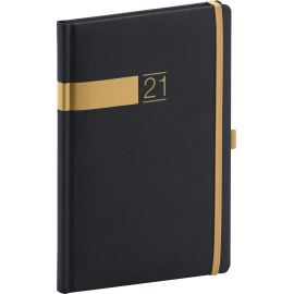 Weekly diary Twill black-gold 2021, 15 × 21 cm