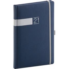 Týdenní diář Twill 2021, modrostříbrný, 15 × 21 cm