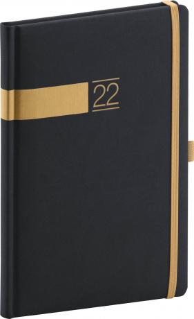 Týdenní diář Twill 2022, černozlatý, 15 × 21 cm