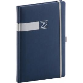 Týdenní diář Twill 2022, modrostříbrný, 15 × 21 cm