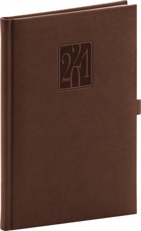 Týdenní diář Vivella Classic 2021, hnědý, 15 × 21 cm