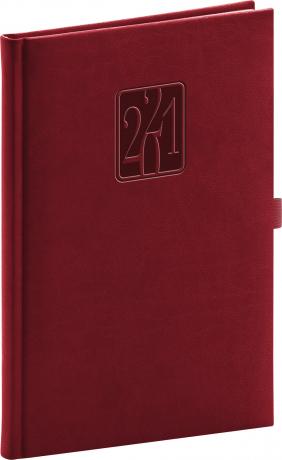 Týdenní diář Vivella Classic 2021, vínový, 15 × 21 cm
