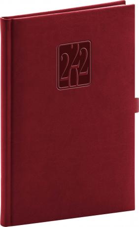 Týdenní diář Vivella Classic 2022, vínový, 15 × 21 cm