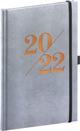 Týdenní diář Vivella Fun 2022, stříbrný, 15 × 21 cm