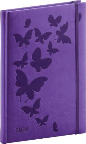 Týdenní diář Vivella Speciál 2019, fialový, 15 x 21 cm
