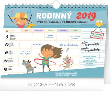 Týdenní rodinný plánovací kalendář s háčkem 2019, 30 x 21 cm