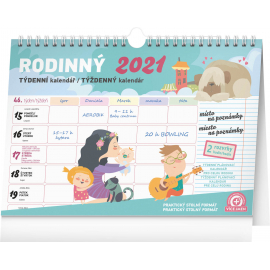 Weekly family planner with hook 2021, 30 ×  21 cm