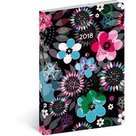 Týdenní ultralehký diář Květiny 2018, 11 x 17 cm, B6