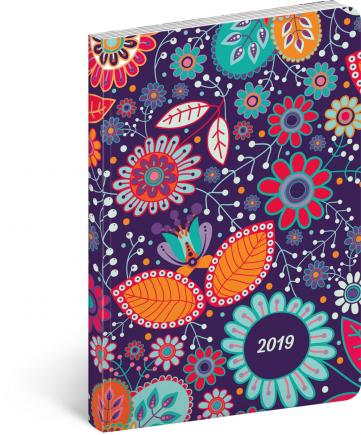 Ultralehký diář Květiny 2019, 11 x 17 cm